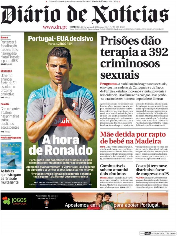 diario de noticias 600x798 Front Covers of Portuguese and US Newspapers Preview USA Portugal Game [PHOTOS]