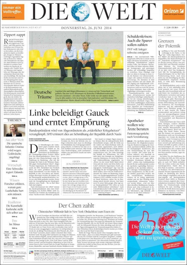 die welt.750 600x848 Newspaper Front Covers from USA And Germany Before World Cup Game [PHOTOS]