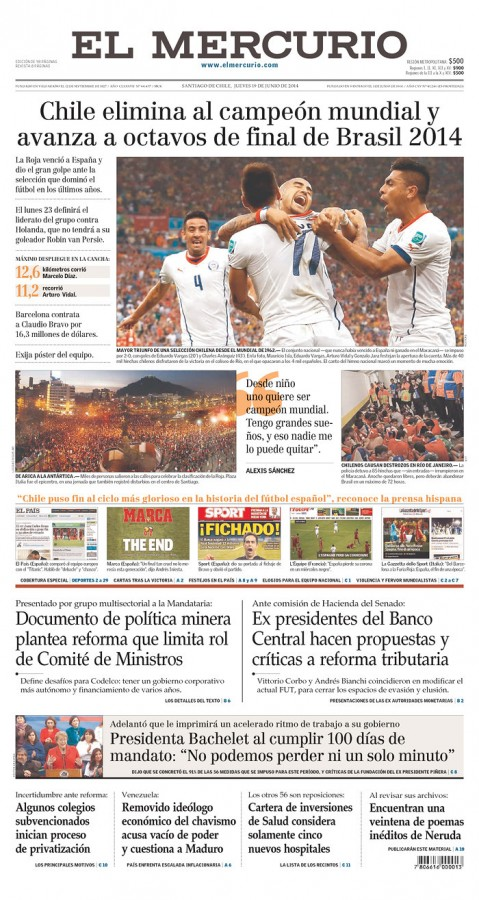 el mercurio chile 479x900 Reaction From Chile And Spain Newspapers to Chile 2 0 Spain [PHOTOS]