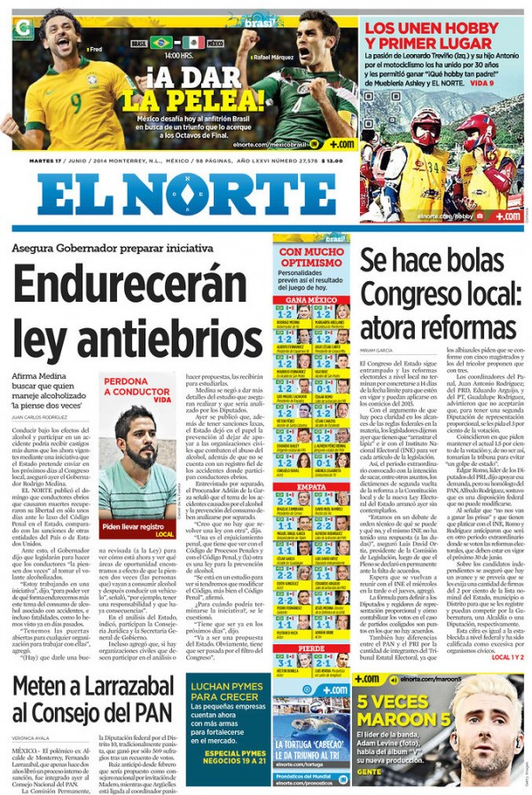 el norte 600x896 Mexico Newspapers Confident Of Victory Ahead of Brazil World Cup Game [PHOTOS]