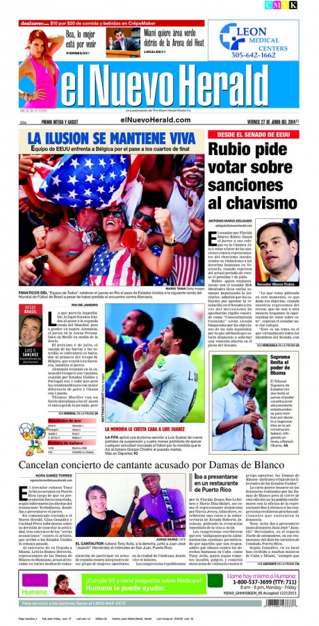 el nuevo herald 459x900 Front Covers Of Newspapers After USA Advance In World Cup [PHOTOS]