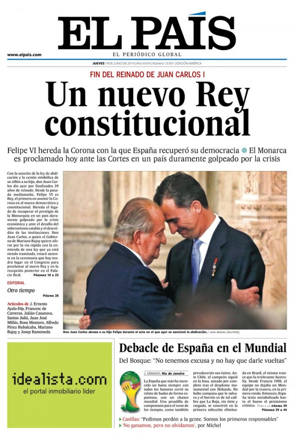 el pais 600x888 Reaction From Chile And Spain Newspapers to Chile 2 0 Spain [PHOTOS]