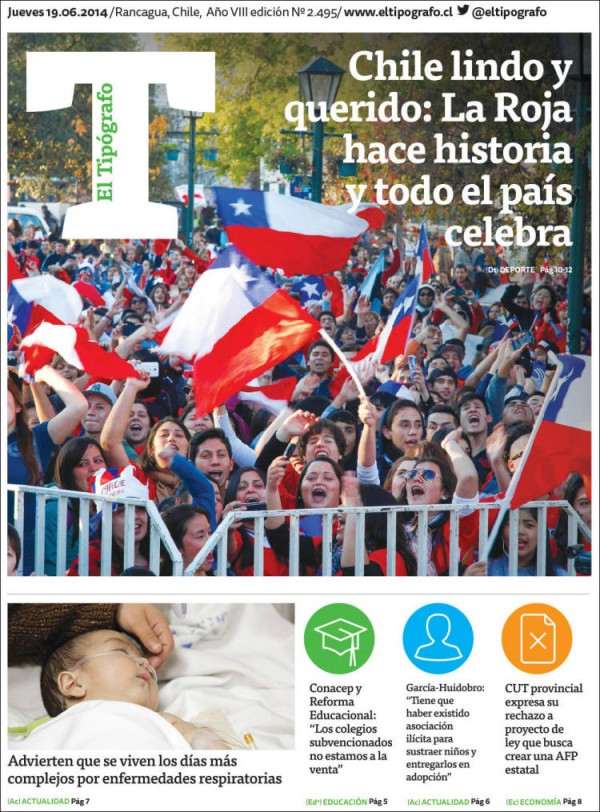 el tipografo chile 600x812 Reaction From Chile And Spain Newspapers to Chile 2 0 Spain [PHOTOS]