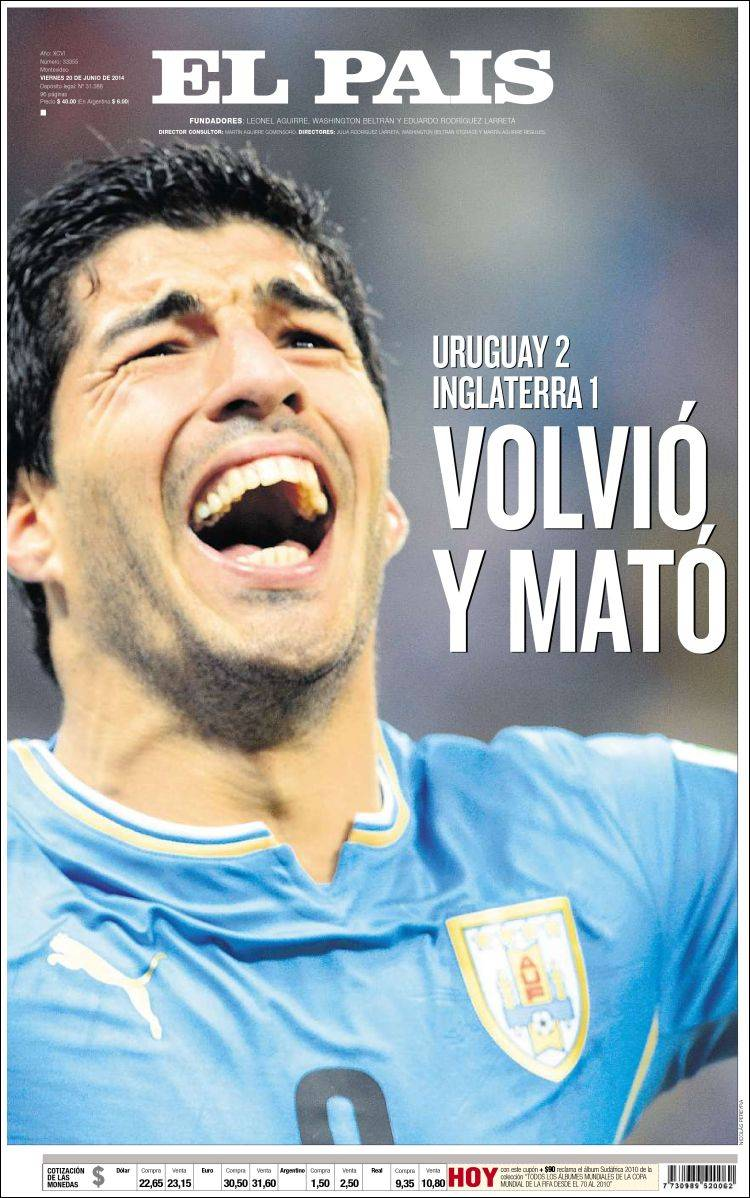 English and Uruguayan Newspapers React to Uruguay 2-1 England