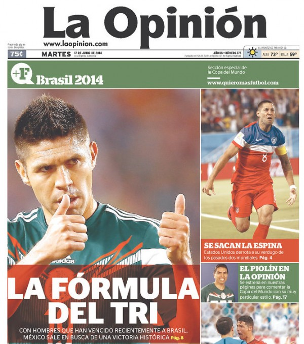 la opinion 600x677 Mexico Newspapers Confident Of Victory Ahead of Brazil World Cup Game [PHOTOS]