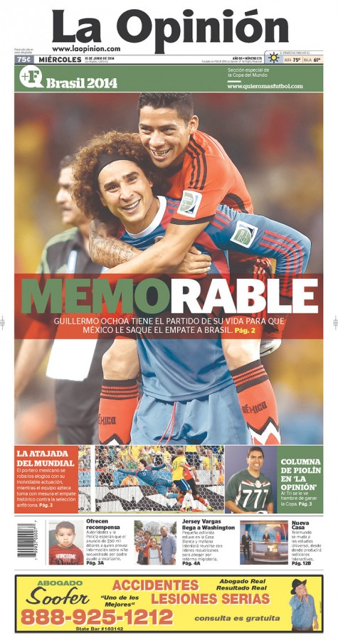 la opinion memorable 475x900 Review of Mexico Newspaper Front Pages in Aftermath of Draw Against Brazil [PHOTOS]