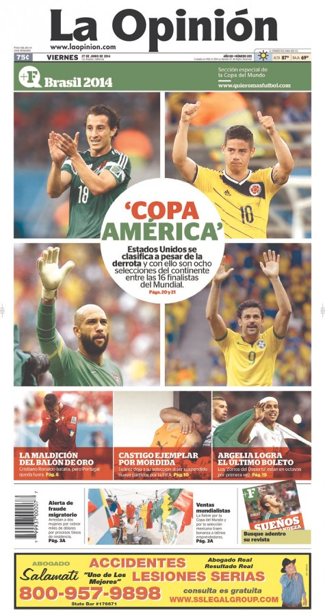 la opinion1 475x900 Front Covers Of Newspapers After USA Advance In World Cup [PHOTOS]