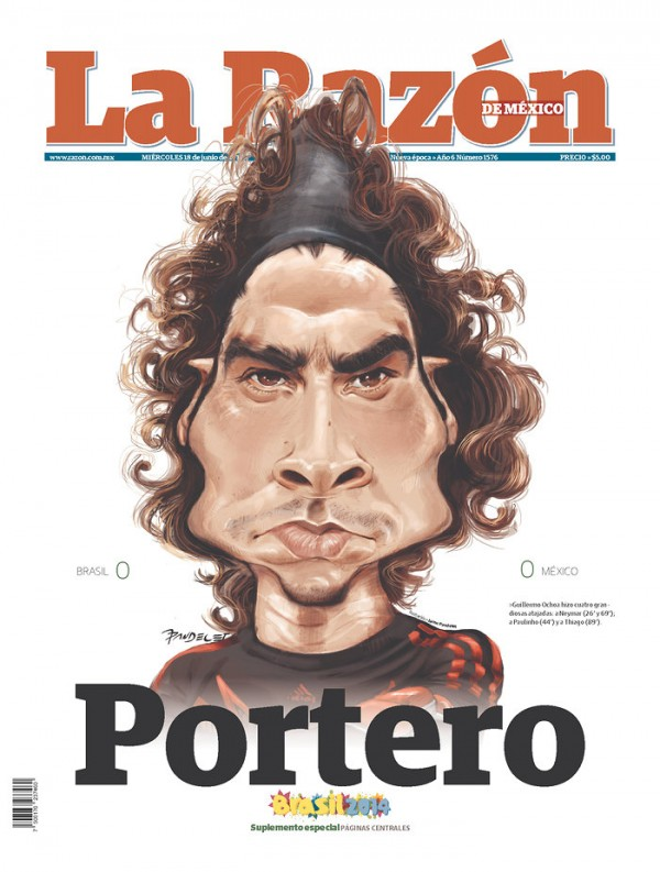 la razon portero 600x793 Review of Mexico Newspaper Front Pages in Aftermath of Draw Against Brazil [PHOTOS]