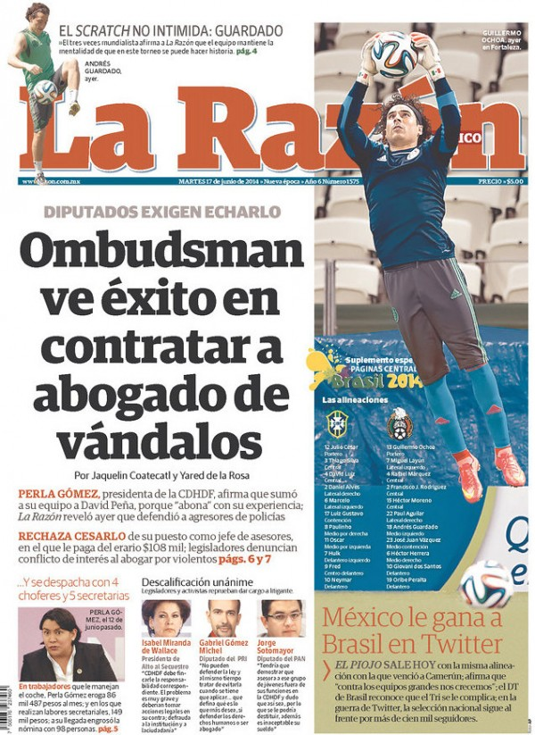 la razon twitter 600x823 Mexico Newspapers Confident Of Victory Ahead of Brazil World Cup Game [PHOTOS]