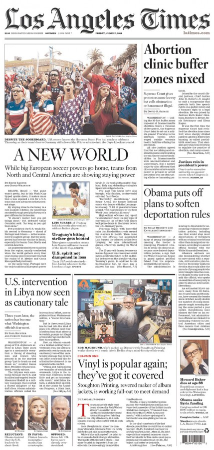 la times 429x900 Front Covers Of Newspapers After USA Advance In World Cup [PHOTOS]