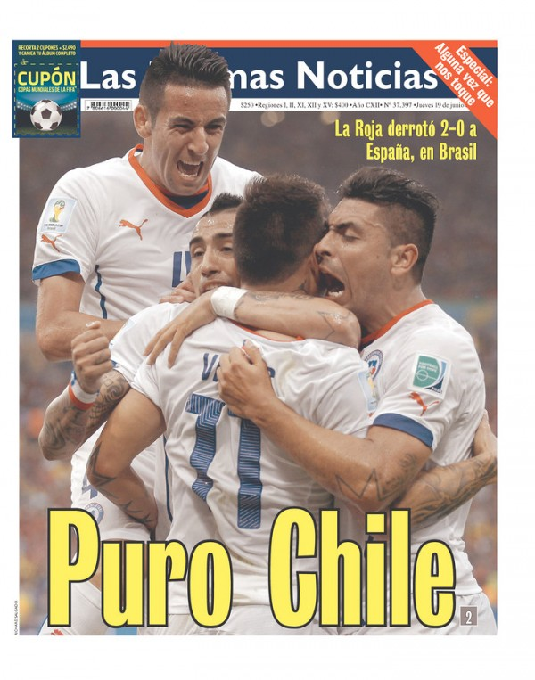 las ultimas noticias 600x763 Reaction From Chile And Spain Newspapers to Chile 2 0 Spain [PHOTOS]