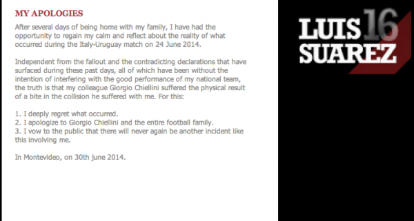 luis suarez apology 600x321 Luis Suarez Issues Apology And Vows Never to Bite Again