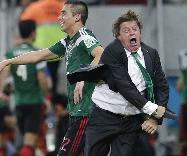 miguel herrera1 WATCH Mexico Coach Miguel Herreras Incredible Celebration After El Tri Advance In World Cup [GIF]