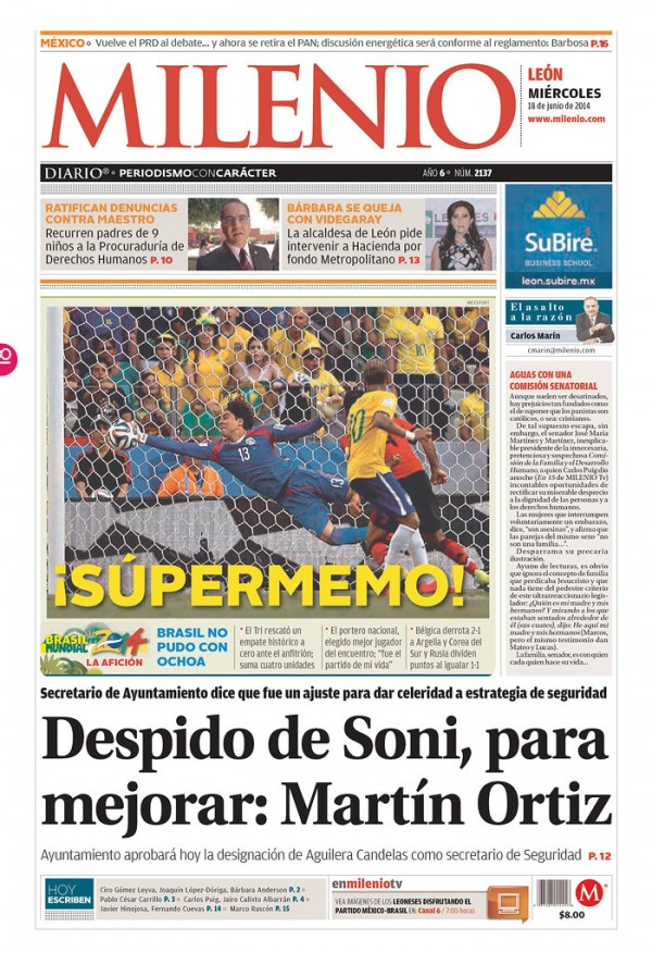 milenio supermemo 600x876 Review of Mexico Newspaper Front Pages in Aftermath of Draw Against Brazil [PHOTOS]