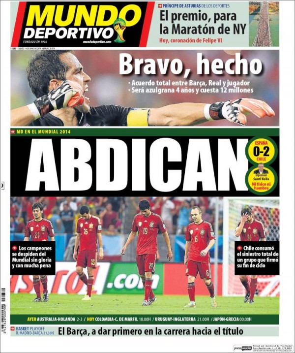 mundo deportivo 600x717 Reaction From Chile And Spain Newspapers to Chile 2 0 Spain [PHOTOS]