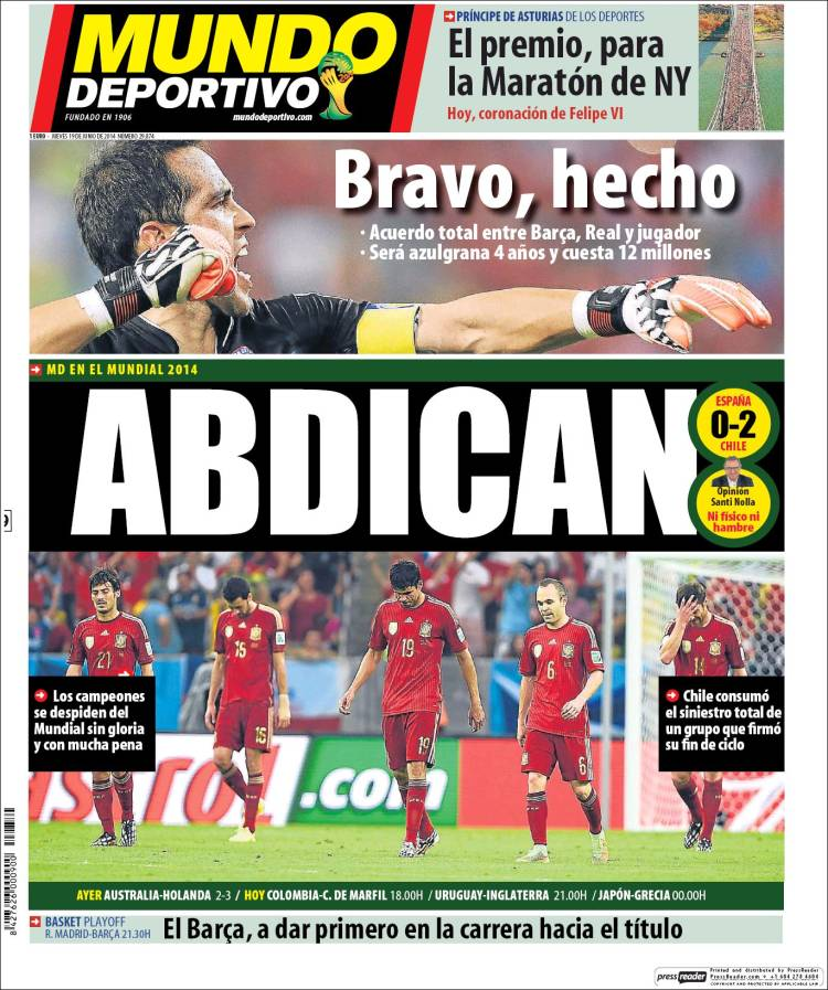 Reaction From Chile And Spain Newspapers to Chile 2-0 Spain [PHOTOS]