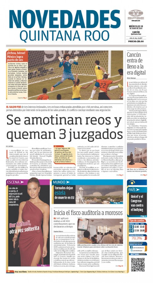 novedades quintana roo 488x900 Review of Mexico Newspaper Front Pages in Aftermath of Draw Against Brazil [PHOTOS]