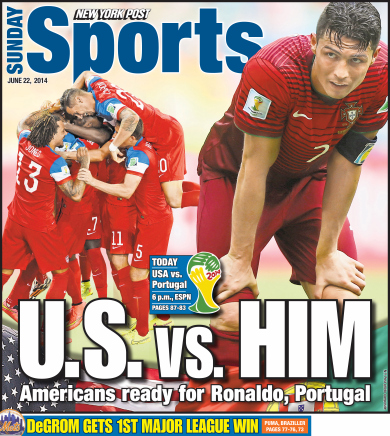 ny post Front Covers of Portuguese and US Newspapers Preview USA Portugal Game [PHOTOS]