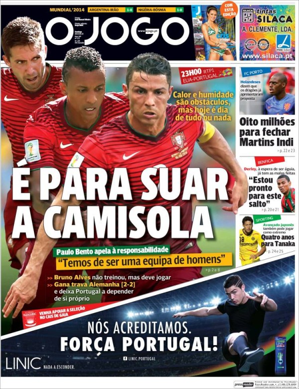 o jogo 600x780 Front Covers of Portuguese and US Newspapers Preview USA Portugal Game [PHOTOS]