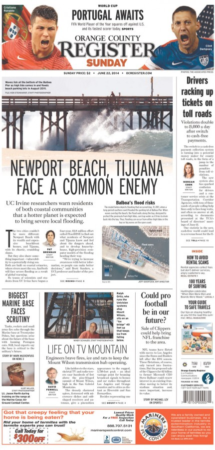 oc register 431x900 Front Covers of Portuguese and US Newspapers Preview USA Portugal Game [PHOTOS]