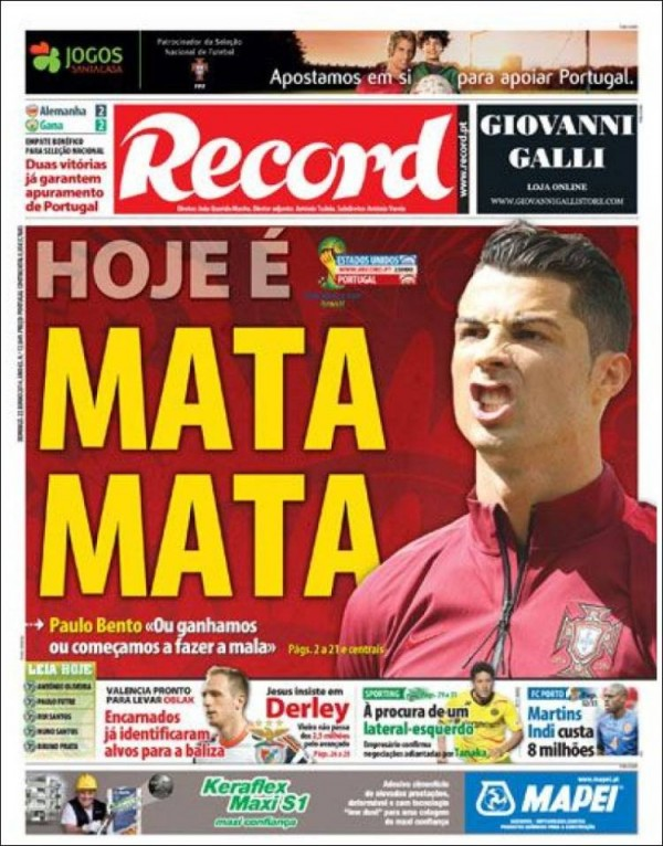record 600x766 Front Covers of Portuguese and US Newspapers Preview USA Portugal Game [PHOTOS]