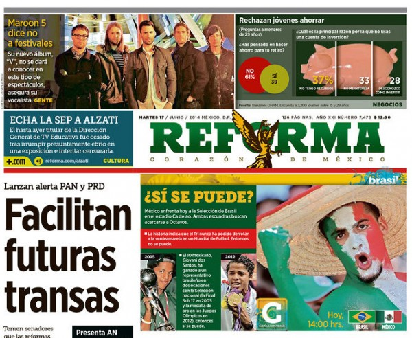 reforma 600x492 Mexico Newspapers Confident Of Victory Ahead of Brazil World Cup Game [PHOTOS]