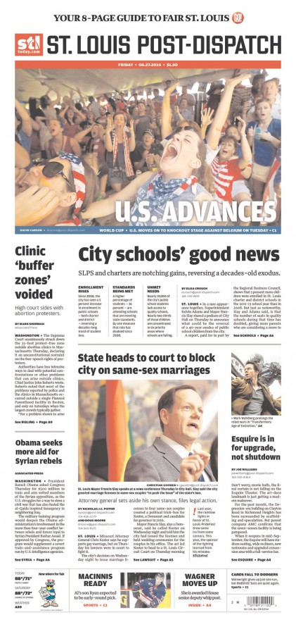 st louis post dispatch 421x900 Front Covers Of Newspapers After USA Advance In World Cup [PHOTOS]