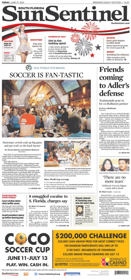 sun sentinel 423x900 Front Covers Of Newspapers After USA Advance In World Cup [PHOTOS]