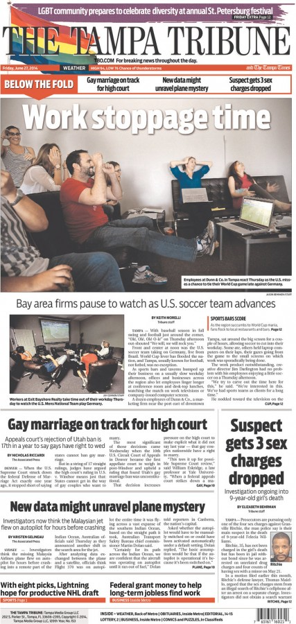 tampa tribune 427x900 Front Covers Of Newspapers After USA Advance In World Cup [PHOTOS]