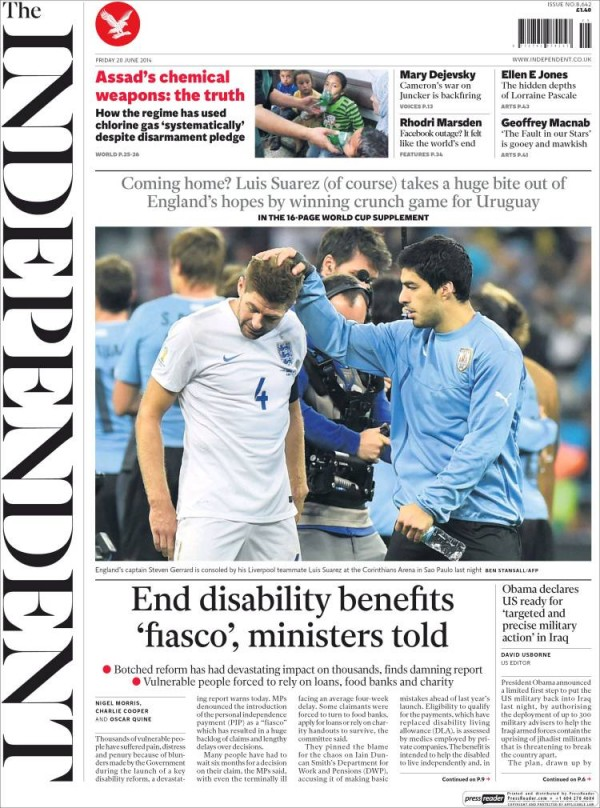 the independent.750 600x808 English and Uruguayan Newspapers React to Uruguay 2 1 England