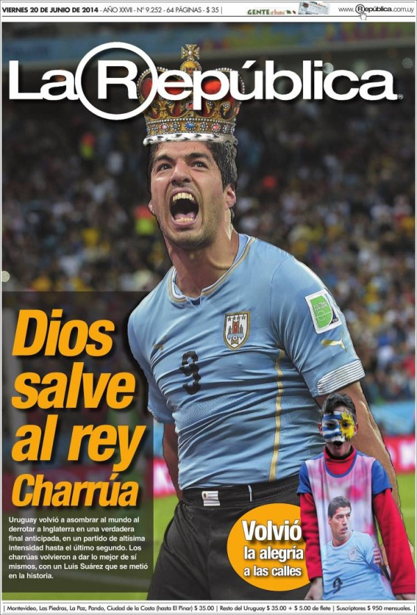 uy republica.750 600x885 English and Uruguayan Newspapers React to Uruguay 2 1 England
