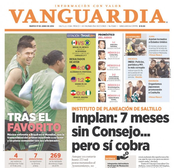 vanguardia 600x580 Mexico Newspapers Confident Of Victory Ahead of Brazil World Cup Game [PHOTOS]