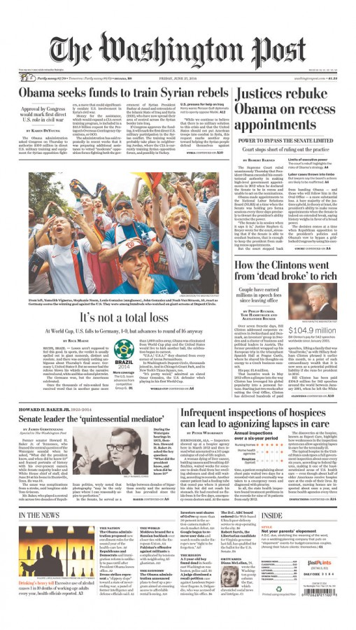 washington post 509x900 Front Covers Of Newspapers After USA Advance In World Cup [PHOTOS]