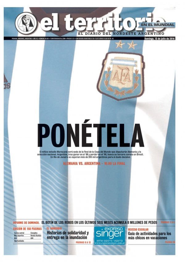 ARG ET 600x848 World Cup Final Featured On Newspaper Front Covers Around the World [PHOTOS]