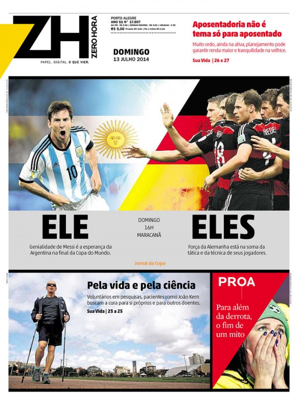BRA ZH 600x816 World Cup Final Featured On Newspaper Front Covers Around the World [PHOTOS]