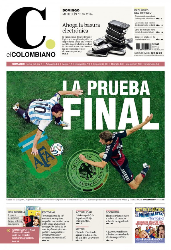 COL EC 600x876 World Cup Final Featured On Newspaper Front Covers Around the World [PHOTOS]