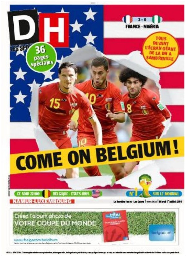 Dh 600x828 Front Covers of USA and Belgium Newspapers Ahead of World Cup Game [PHOTOS]