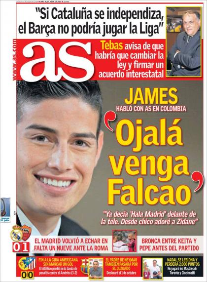 James Rodriguez Hopes Radamel Falcao Joins Him At Real Madrid