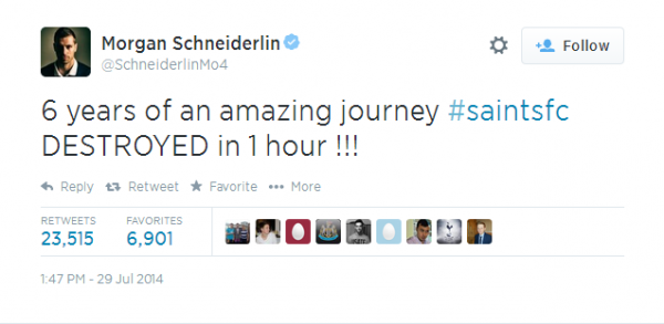 SchneiderlinTweet1 600x293 Morgan Schneiderlin Making Things Difficult At Southampton, Says Koeman