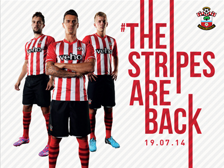 Screen Shot 2014 07 05 at 4.48.55 PM The Stripes Are Back! Southamptons Home Shirt For 2014/15 Season Returns With Classic Design