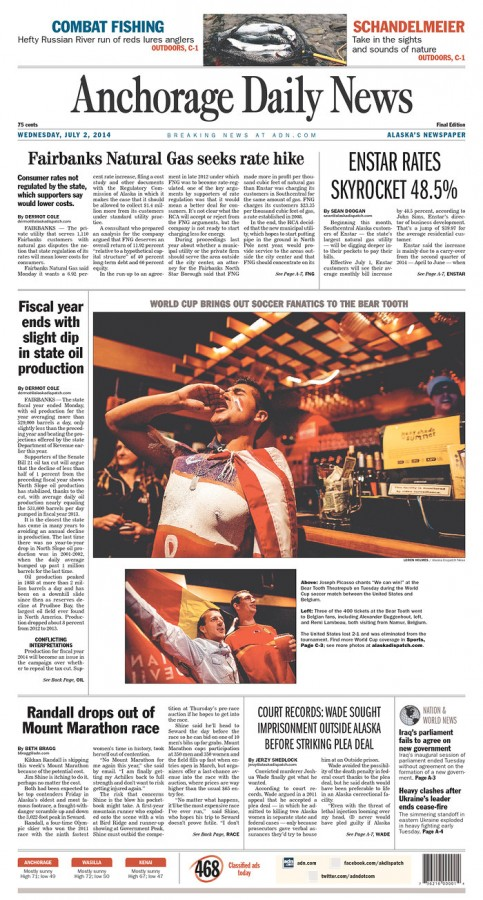 anchorage daily news 483x900 Front Covers From USA and Belgium Newspapers After Round of 16 Game [PHOTOS]