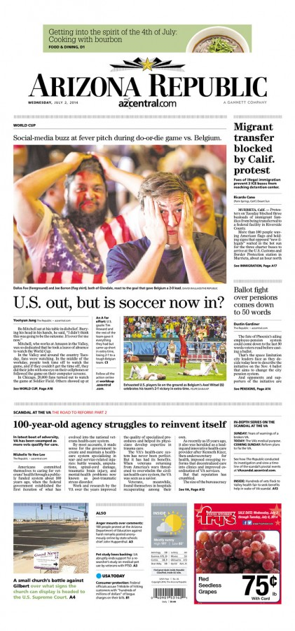 arizona republic 421x900 Front Covers From USA and Belgium Newspapers After Round of 16 Game [PHOTOS]