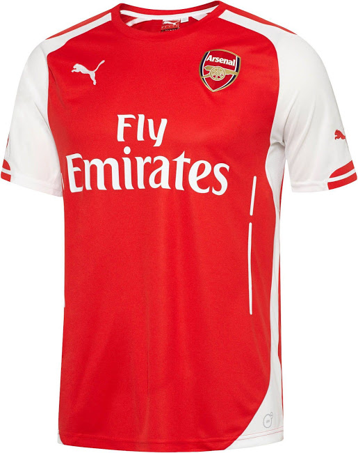 arsenal home shirt1 WATCH Arsenal Unveil Home, Away and Third Shirts for 2014/15 Season [VIDEOS]