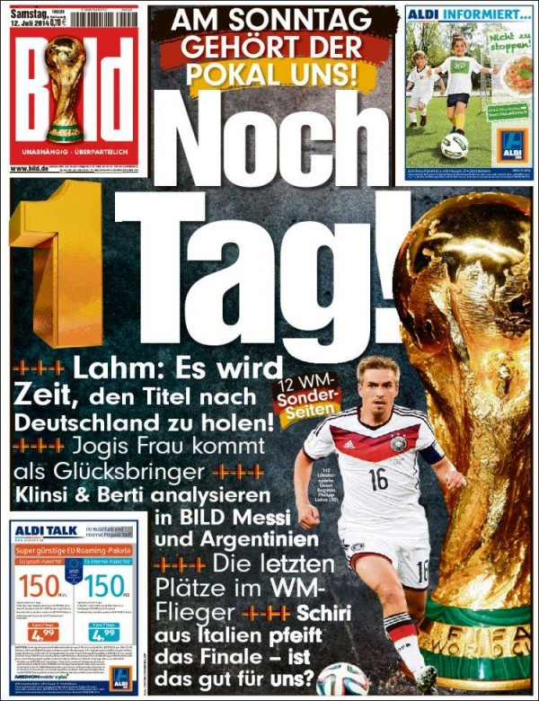 bild1 600x780 World Cup Final Featured On Newspaper Front Covers Around the World [PHOTOS]