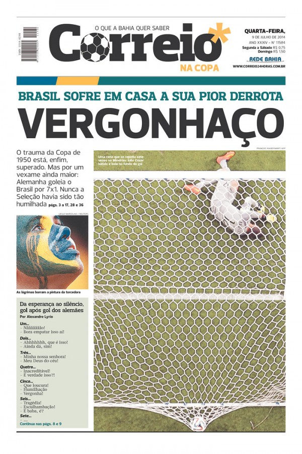 correio 600x900 Nation In Shock: Front Covers Of Brazil Newspapers After Defeat Against Germany [PHOTOS]