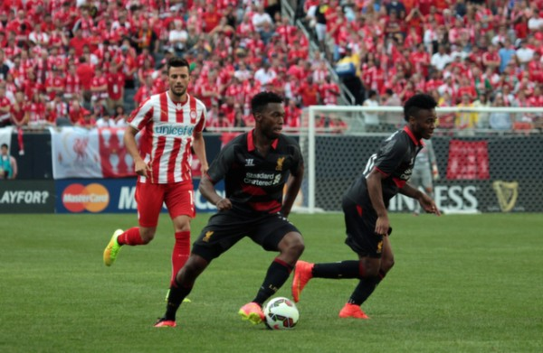 daniel sturridge 600x391 Liverpool vs Olympiacos, International Champions Cup Game in Chicago [PHOTOS]