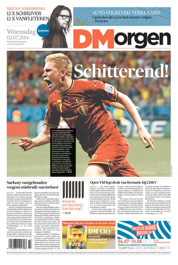 de morgen 600x895 Front Covers From USA and Belgium Newspapers After Round of 16 Game [PHOTOS]