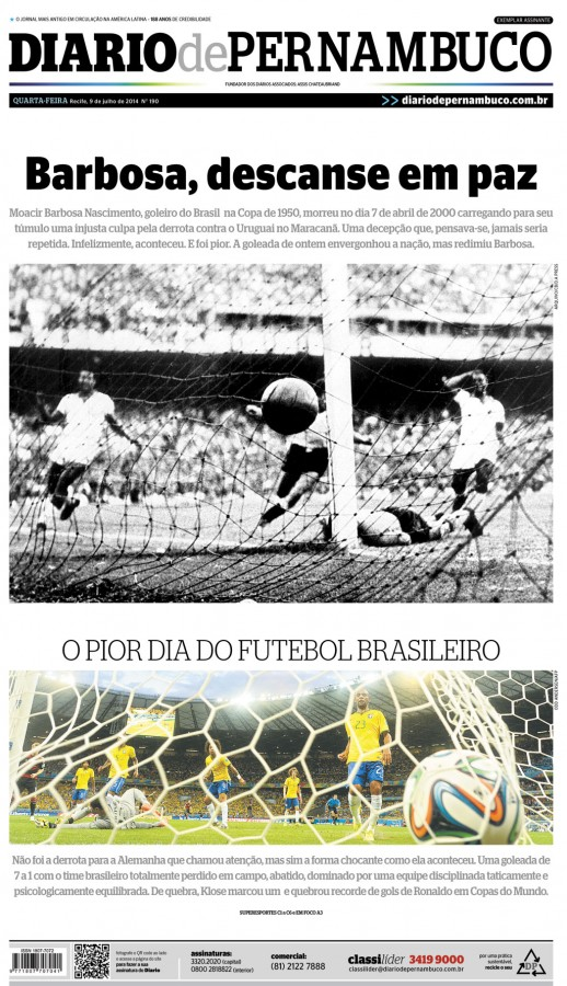 diario de panarbuco 518x900 Nation In Shock: Front Covers Of Brazil Newspapers After Defeat Against Germany [PHOTOS]