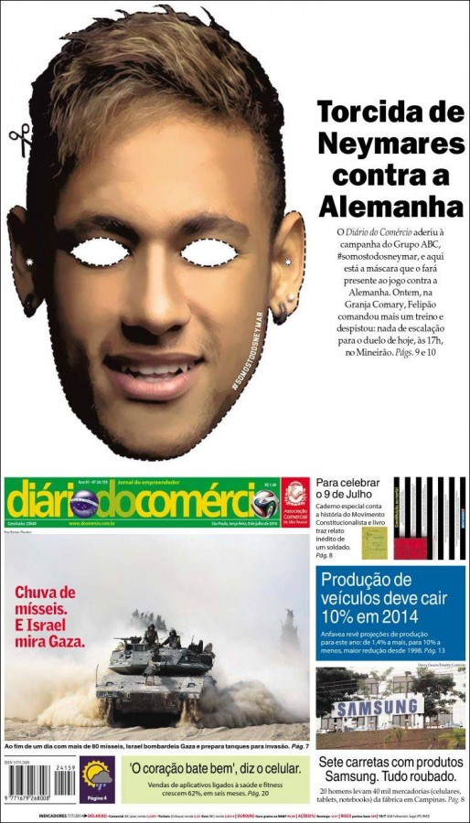 diario do comercio 514x900 Brazil Newspapers Infatuated With Neymar: Front Covers of Todays Papers [PHOTOS]