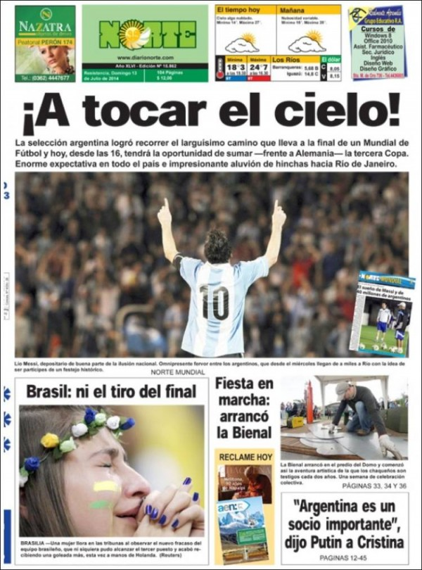 diario norte 600x810 World Cup Final Featured On Newspaper Front Covers Around the World [PHOTOS]